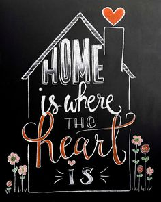 Chalkboard Flowers sign - Home is Where the Heart is