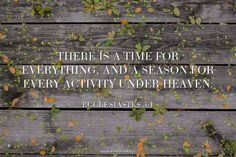 There is a time for everything, and a season for every activity under heaven. - Ecclesiastes 3:1 | Erin made this with Spoken.ly