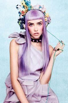 Lavender hair, floral head band.