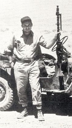 Leon Uris on patrol in the Negev Desert during research for his book, Exodus