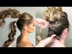 Easy hairstyles short hair, hair long, hairstyles with braid. Party Hairstyles, Girl Hairstyles, Braided Hairstyles, Wedding Hairstyles, Hairstyles 2018, Easy Hairstyle, Braided Updo, Easy Everyday Hairstyles, Hair Videos
