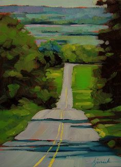 """This reminds me of roads in the summer. A Painting Today: """"Lancaster County"""" Karin Jurick Paintings I Love, Small Paintings, Acrylic Paintings, Acrylic Art, Art Paintings, Landscape Paintings, Landscape Fabric, Desert Landscape, Abstract Landscape Painting"""