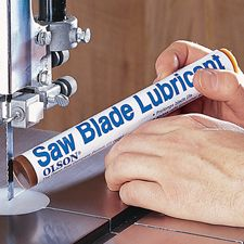 "Blade Lubricant Stick, Prevents chip and pitch build-up on all wood, plastic and metal saw blades. Simply feed lubricating stick into moving blade until teeth are thoroughly coated. Also great for scroll saws. Handy 8"" x 1"" Stick. $8"