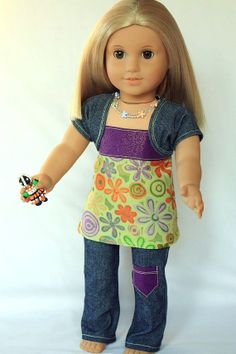 18 Doll Clothes  Jeans and Flower top with bead by DollTagClothing