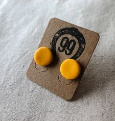 FREE SHIPPING! Check these out at 99 Farm Gift Shop Handmade Jewellery, Unique Jewelry, Handmade Gifts, Handmade Polymer Clay, Polymer Clay Earrings, Mustard Yellow, Jewelry Crafts, Etsy Seller, Stud Earrings