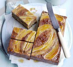Sticky Banana & Maple Cake Recipe on Yummly Bbc Good Food Recipes, Popular Recipes, Baking Recipes, Cake Recipes, Yummy Food, Apple Loaf Cake, Maple Cake, Roasted Parsnips, Square Cakes