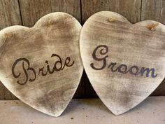 Rustic Heart Wedding Signs - Mr. and Mrs // Bride and Groom // Senor and Senora // Novio and Novia