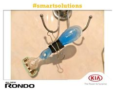 Use a bulldog clip to hang your razor out of reach of little hands. #smartsolutions