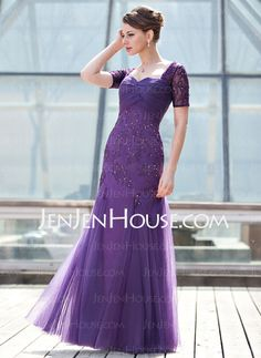 A-Line/Princess Sweetheart Floor-Length Tulle Charmeuse Lace Mother of the Bride Dress With Ruffle Beading Sequins (008018693)