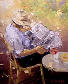 André Deymonaz born 1946 in Casablanca, Morocco Painting People, Figure Painting, Figure Drawing, Human Body Art, Reading Art, Reading Time, Newspaper Art, Cafe Art, Fashion Painting