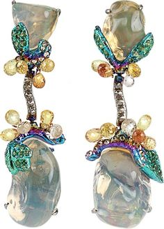 ARUNASHI Fire Opal Egg Drop Earrings | thestylecure.com