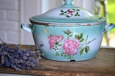Vintage French enamelware Floral Tureen by ChalkFarmHome on Etsy