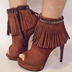 Shoespie Tassels Peep-toe Ankle Wrap