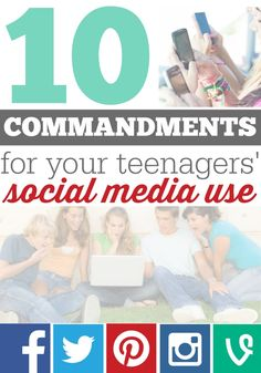 10 Commandments for your teenagers' social media use... If your kid has access to an electronic device that connects to wifi, then you need to read this. And you need to make sure your friends know this too.