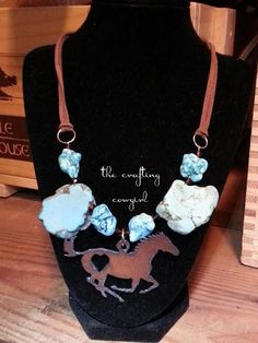 Rustic Turquoise Running Horse Leather by TheCraftingCowgirl, $30.00