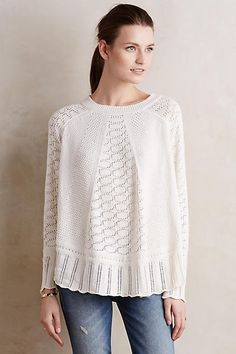 Lightweight sweater with intricate detail on sale under $60. Angel of the North Nulia Circle Hem Poncho