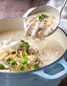 White Chicken Enchilada Soup - tastes like White Enchiladas, but in soup form! Creamy with a tiny touch of tang, so luscious and satisfying. #leftoverturkey #thanksgivingleftovers #turkey