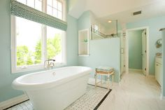 Bathroom Paint Colors At Sherwin Williams Design Ideas, Pictures, Remodel, and Decor: tradewind Country Style Bathrooms, Beach Theme Bathroom, Mint Bathroom, Serene Bathroom, Barn Bathroom, Washroom, Bathroom Pictures, Bathroom Ideas, Bathroom Vanities