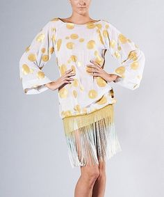 Love this Gold Polka Dot Fringe Boatneck Dress by Nuvula on #zulily! #zulilyfinds
