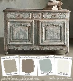 COLORWAYS Sideboard from Soft Surroundings inspire a color palette of soft neutrals. To recreate use Annie Sloan Chalk Paint®, French Linen, Coco, Duck Egg Blue, Old White by Lenore Armstrong Annie Sloan Painted Furniture, Annie Sloan Paints, Distressed Furniture, Shabby Chic Furniture, Painted Furniture French, Distressed Dresser, Bohemian Furniture, Rustic Furniture, Modern Furniture
