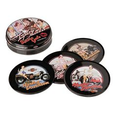 Enjoy your favorite beverage while protecting your table or bar with Harley Davidson® Metal Coasters. Set includes four tin coasters with natural cork bottoms in a collectible storage tin.  #mancave #giftidea  Montreal,Quebec, Canada Ontario, Ottawa