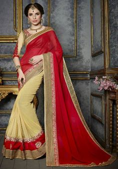 Browse our latest collection of designer saree. Order this aesthetic embroidered and patch border work faux chiffon and lycra designer saree. Party Wear Sarees Online, Wedding Sarees Online, Saree Wedding, Bridal Sarees, Red Chiffon, Chiffon Saree, Hyderabad, Chennai, Net Blouses