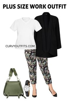 af3f66fca4c Plus size outfit of the day  chic work outfit with floral pants