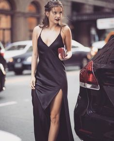 Closed with Sophia) I hold my dress up as I step out of the car, waiting for you on the curb #Barbarapalvin