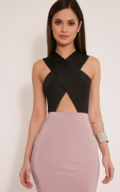 Pheona Black Halterneck Cut Out Thong Bodysuit