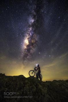 Bike into the stars by Chaiyun Damkaew Wallpaper Gratis, Jesus Painting, Beautiful Sky, Beautiful Things, Space And Astronomy, Galaxy Art, Under The Stars, Cool Photos, Amazing Photos