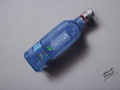 Marcello Barenghi: A chilled bottle of Vodka Khortytsa Ice - drawing