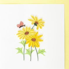 Rudbeckia. Papillon. Quilling.Production Image
