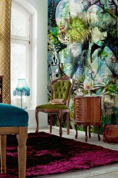 """Fantastic wall mural.  This whole blog post has some seriously cool murals, not one of which is what you (maybe just me) normally think of at the word """"mural.""""  Very like."""