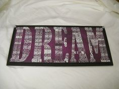 http://www.etsy.com/listing/162793058/white-dream-words-on-purple-wooden-wall