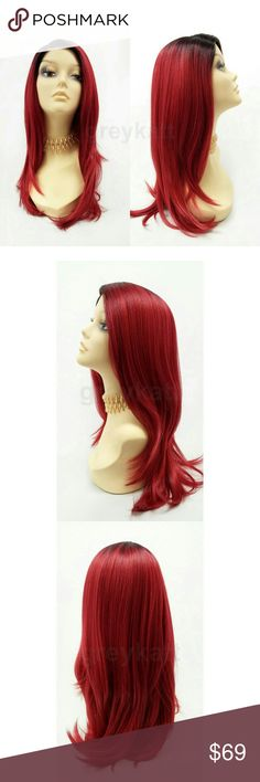 """Wine red lace front heat resistant straight wig NOTE: The sheer lace for this wig has already been trimmed and matched to the hairline  Beautiful on-trend wig featuring straight layers, dark roots, and a handcrafted lace front with lace part for a seamless blend with your scalp. Made with premium heat resistant synthetic fiber.  Color: Wine Red w/ Dark Roots (TT1B/WineRed) Length: 19"""" inches Circumference: Default at 21"""" with adjustable cap (max 23"""") Materials: Premium Heat Resistant…"""