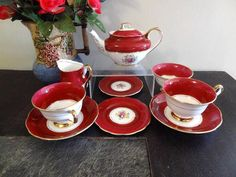 1930s Royal Albert Crown China RED Mayfair 9 PC TEA FOR TWO Super Rare | eBay