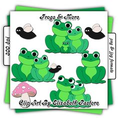 Cute Frog Clip Art Collection by ClipArtByElizabeth on Etsy, $2.50