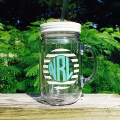 Game Day Circle Monogram Insulated Double Wall by TheCoralCoast
