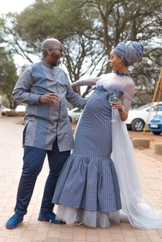 A Gorgeous Wedding With The Bride In Shweshwe Design Wedding Dresses South Africa, African Print Wedding Dress, African Wedding Attire, African Attire For Men, South African Weddings, African Evening Dresses, Most Beautiful Dresses, Beautiful Things, South African Traditional Dresses
