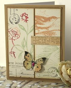 https://flic.kr/p/cYkF8L | Grid | Just playing. Using the Rose stamp from Hero Arts, the pine branch and the bird and butterfly.