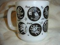 Zodiac Astrology Milk Glass Mug Black White - Etsy