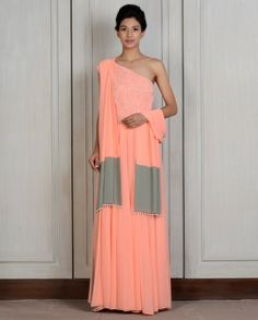 Peach Sequined One-shoulder Kalidar
