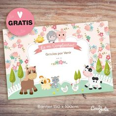 Banner Animalitos de la granja Nena 150 x100 Gratis! Farm Birthday, Birthday Parties, Farm Party, Toy Chest, Birthdays, Banner, Baby Shower, Kids Rugs, Crafts
