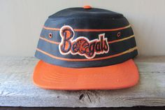 0b0780ef459 CINCINNATI BENGALS Vintage Orange Striped Black Pillbox Hat Sports  Specialties Snapback Cap Official NFL Painter Football Ballcap
