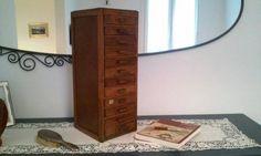 Antica cassettiera da tipografo cassettiera da tavolo scrivania in legno con dodici piccoli cassetti