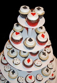red and black casino night cupcake tower for Camelback Desert School's All in For Kids Charity Event by Simply Sweets, via Flickr