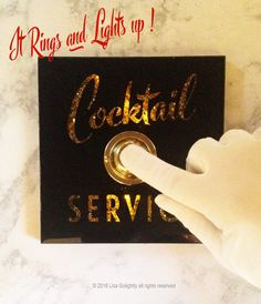 I have always had a love affair with antique glass signage found in old bars, theaters and hotels. This COCKTAIL SERVICE button celebrates such signage from a bygone era. Reverse printed beveled glass has a shadow box effect with a gold glitter background. This piece not only rings but
