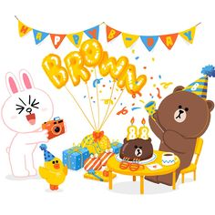 BROWN PIC is where you can find all the character GIFs, pics and free wallpapers of LINE friends. Come and meet Brown, Cony, Choco, Sally and other friends! Happy Birthday Drawings, Happy Birthday Wishes Cards, Birthday Wishes Quotes, Cute Love Gif, Cute Love Pictures, Interracial Art, Cony Brown, Cute Couple Art, Bunny And Bear