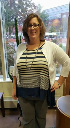 Another happy customer in our Gilli Asymmetrical Striped Tank!