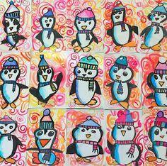 In the Art Room: Penguins with First Grade (Cassie Stephens) Im Kunstraum: Pinguine mit der ersten Klasse First Grade Art, 2nd Grade Art, Christmas Art Projects, Winter Art Projects, Kindergarten Art Lessons, Art Lessons Elementary, Winter Art Kindergarten, January Art, Penguin Art